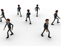 3d men walking in all directions concept Stock Photo