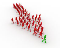 3d men walking forming arrow shape concept Royalty Free Stock Photography