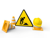 3d men at work sign and cones Stock Photography