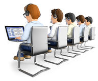 3D Men working in a call center Stock Photo