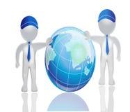 3D men world map globe vector logo. 3D men in business with world map globe vector logo background template Stock Photos