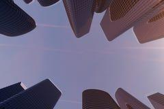 3D mening van de illustratie Lage hoek van wolkenkrabbers Wolkenkrabbers bij zonsondergang die op perspectief kijken Bodemmening  vector illustratie