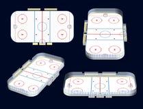 3D meningen van het ijshockeystadion Stock Foto