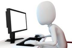 3d mens die aan computer werken Stock Afbeeldingen