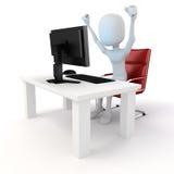 3d mens die aan computer werken Stock Foto