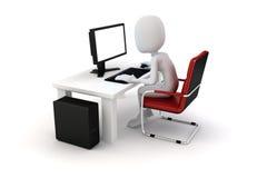 3d mens die aan computer werken Stock Afbeelding