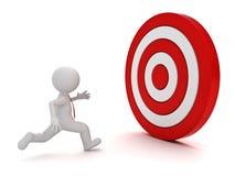 3d mens die aan het rode doel lopen vector illustratie