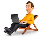 3d mens die aan vakantie werken stock illustratie