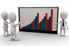 3d mens die een bedrijfsstatistiekgrafiek vertegenwoordigen Royalty-vrije Stock Afbeeldingen