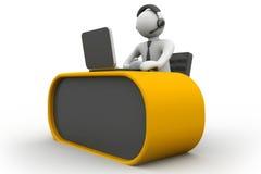 3D mens die in een call centre werken royalty-vrije illustratie