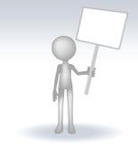 3d mens die een pagina op witte backround houden Stock Afbeeldingen