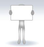 3d mens die een pagina op witte backround houden Stock Afbeelding