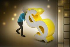 3d mens die het dollarteken duwen Stock Afbeelding
