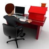 3d mens die huisplan op laptop met klein model van huis op talbeconcept maken Stock Foto's