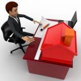 3d mens die huisplan op laptop met klein model van huis op talbeconcept maken Stock Afbeelding
