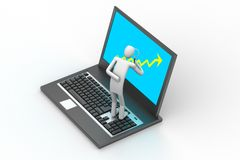 3d mens die laptop bevinden zich Stock Foto