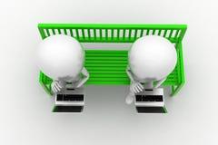 3d Mens die Laptop Zitting op Bank gebruiken Royalty-vrije Stock Afbeeldingen