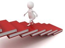 3d mens die op de treden van boekenladder naar boven gaat Stock Fotografie