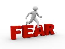 3d mens die over vrees springen Stock Afbeeldingen
