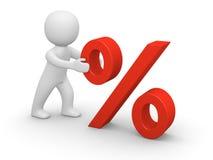 3d mens die rood percententeken duwt Stock Afbeelding