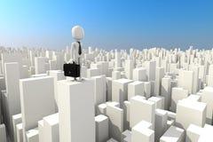 3d mens die zich op het dak van wolkenkrabber bevinden Stock Afbeelding