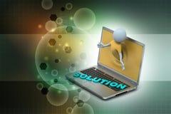 3d mens door laptop die gegevens tonen Royalty-vrije Stock Foto
