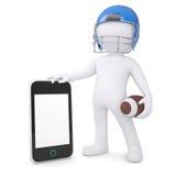 3d mens in een voetbalhelm houdt smartphone Stock Afbeelding