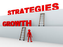 3d mens en de groeistrategieën Royalty-vrije Stock Afbeeldingen