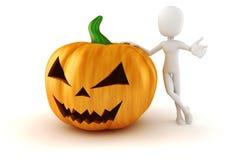 3d mens en grote enge Halloween-pompoen Stock Foto