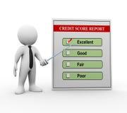3d mens en kredietscorerapport Stock Foto's