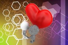 3d mens en vreemde liefdeillustratie Stock Afbeelding