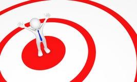3d mens in het centrum van rode cirkel Royalty-vrije Stock Afbeelding