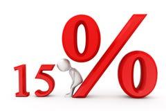 3d mens het concept van de 15 percentenkorting Stock Fotografie