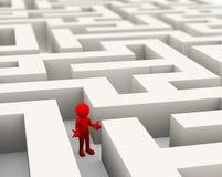 3d mens in het labyrint wordt verloren dat vector illustratie