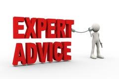 3d mens het luisteren deskundig advies met tinblik stock illustratie