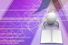 3d mens lezing/het leren boekillustratie Stock Foto's