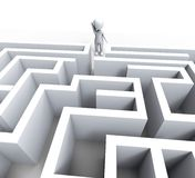 3d Mens in Maze Shows Challenge Or Confused Royalty-vrije Stock Fotografie