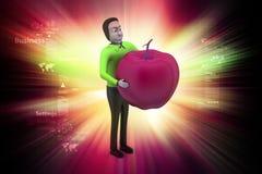 3d mens met appel Stock Afbeelding