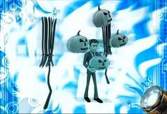 3d mens met bloomstick en Halloween-pompoenillustratie Stock Foto