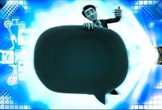 3d mens met de groene illustratie van de praatjebel Stock Foto's