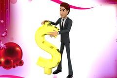 3d mens met de illustratie van het dollarteken Royalty-vrije Stock Fotografie