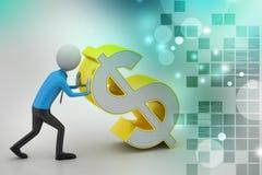 3d mens met dollarteken Stock Afbeelding