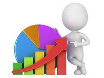 3d mens met grafiek en cirkeldiagram Stock Foto