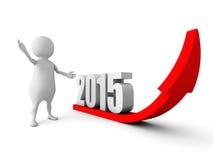 3d mens met het groeien van de pijl van het het jaarsucces van 2015 Stock Foto