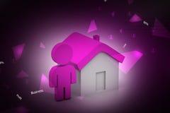 3d mens met huis, onroerende goederenconcept Stock Foto