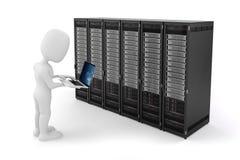 3d mens met laptop en servercomputers Stock Afbeeldingen