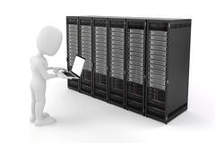 3d mens met laptop en servercomputers Royalty-vrije Stock Afbeeldingen
