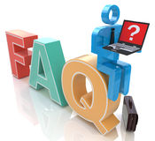 3d mens met laptop zitting op het woord FAQ Stock Afbeeldingen