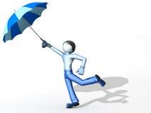 3D mens met paraplu Royalty-vrije Stock Afbeeldingen