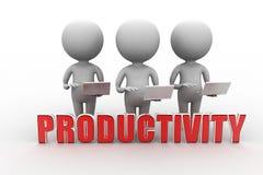 3d mens met productiviteitsconcept Royalty-vrije Stock Afbeeldingen